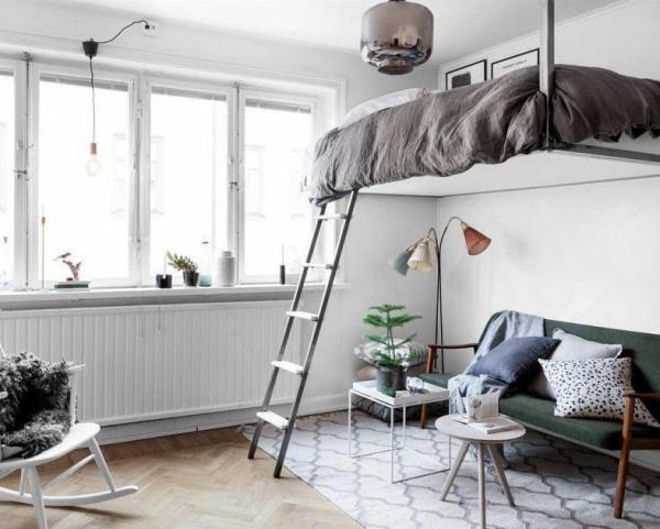 la chambre à coucher lit suspendu