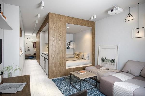 la chambre à coucher une niche en bois