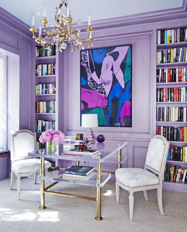 la couleur lavande murs-bibliothèque