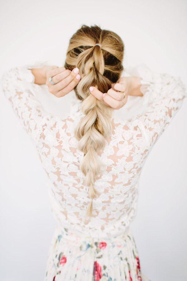 look romantique pull through tresse coiffure bohème