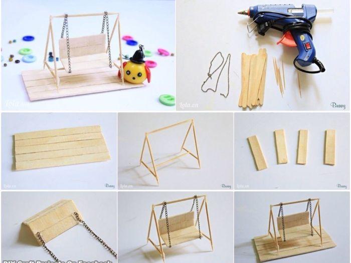 mini balancelle idée diy avec un bâton de glace en bois