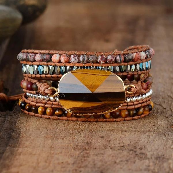 oeil de tigre et jaspe bracelet pierre anti-stress