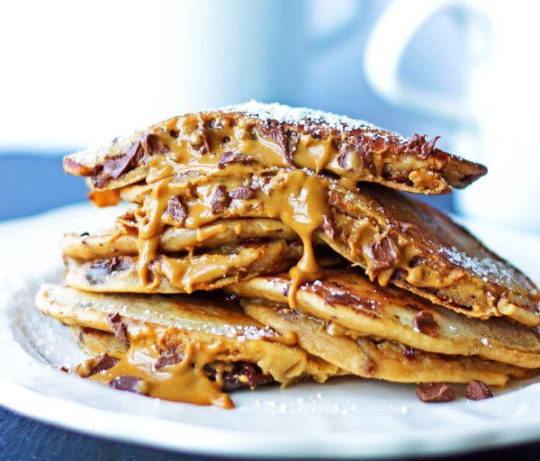 pancake fourré au choclat et caramel