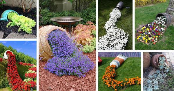 parterre de fleurs avec pot renversé