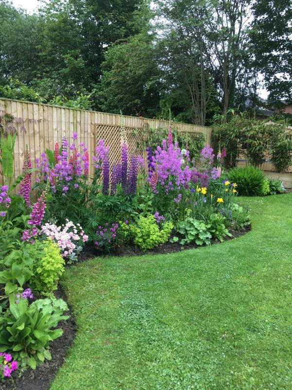 parterre de fleurs devant la clôture de jardin