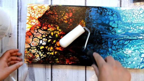 peinture acrylique pouring vernissage