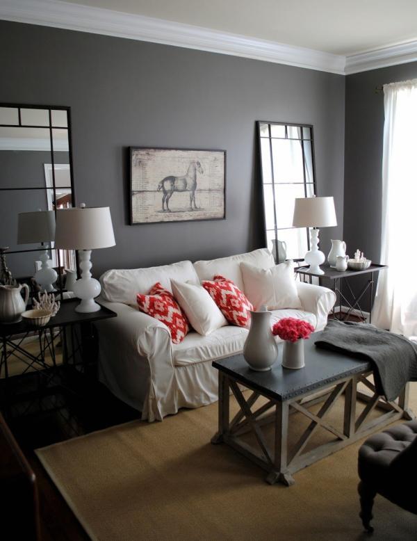 petit salon gris anthracite canapé blanc
