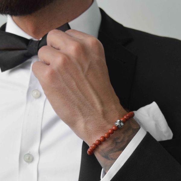 pierre jaspe rouge mode homme bracelet pierre anti-stress