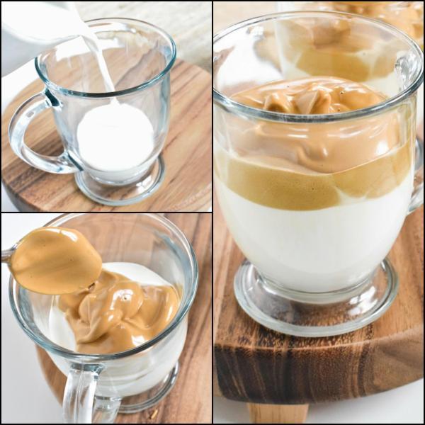 recette café dalgona mélange de lait et mousse