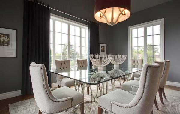 salle à manger gris anthracite chaises blanc crème