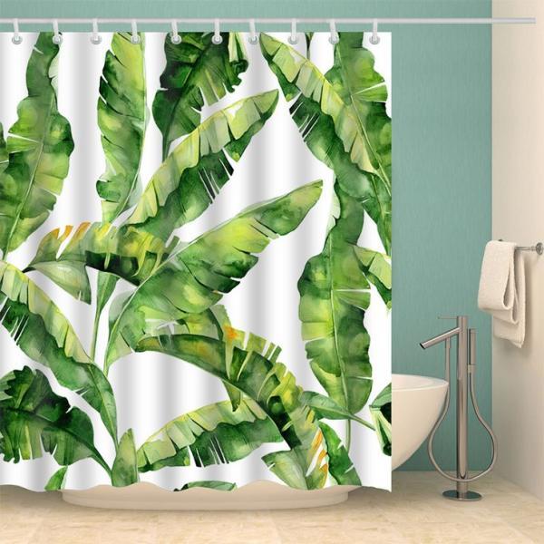 salle de bain rideau de douche aux motifs feuille de bananier