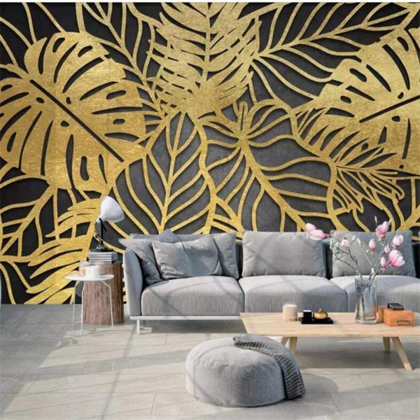 salon déco murale feuille de bananier stylisée dorée