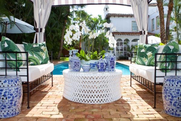 salon de jardin coussins décoratifs aux motif feuille de bananier
