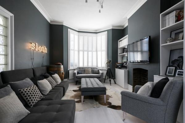 salon gris anthracite mobilier coloré de différentes nuances du gris