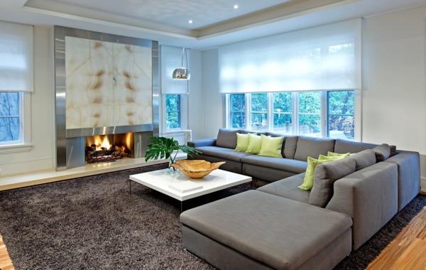 salon moderne canapé et tapis gris anthracite