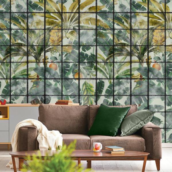salon moderne mur d'accent déco peinture feuille de bananier