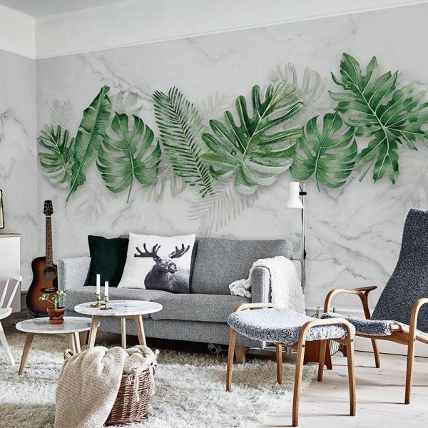 salon scandinave peinture murale feuille de bananier