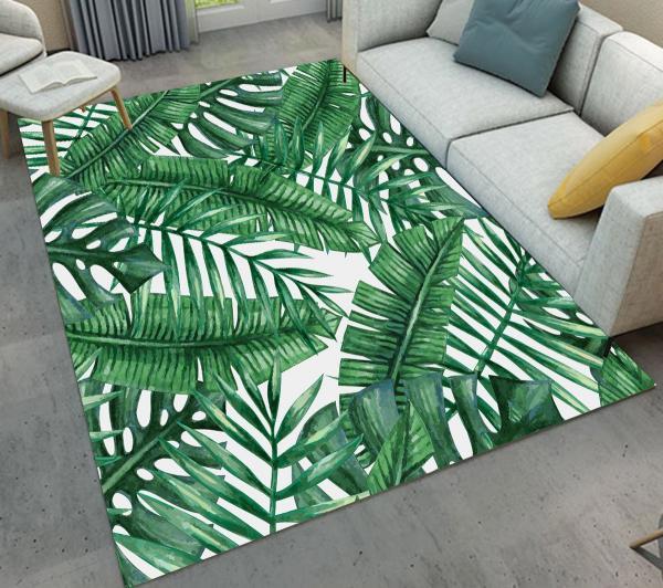 salon tapis aux motifs feuille de bananier