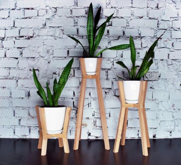stand de fleurs à l'intérieur stabilité en bois