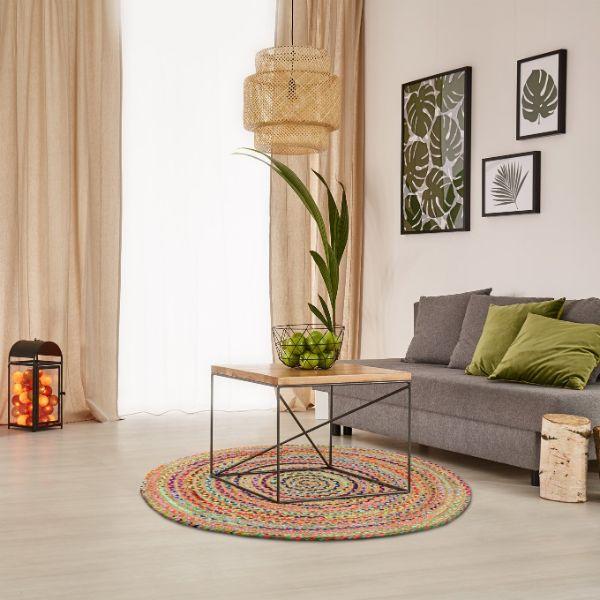 tapis fibre natuelle rond en jute