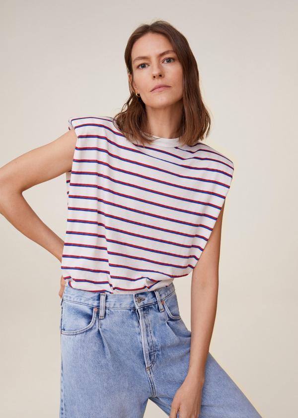 tendance mode femme 2020 t-shirt à épaulettes à carrés jean clair