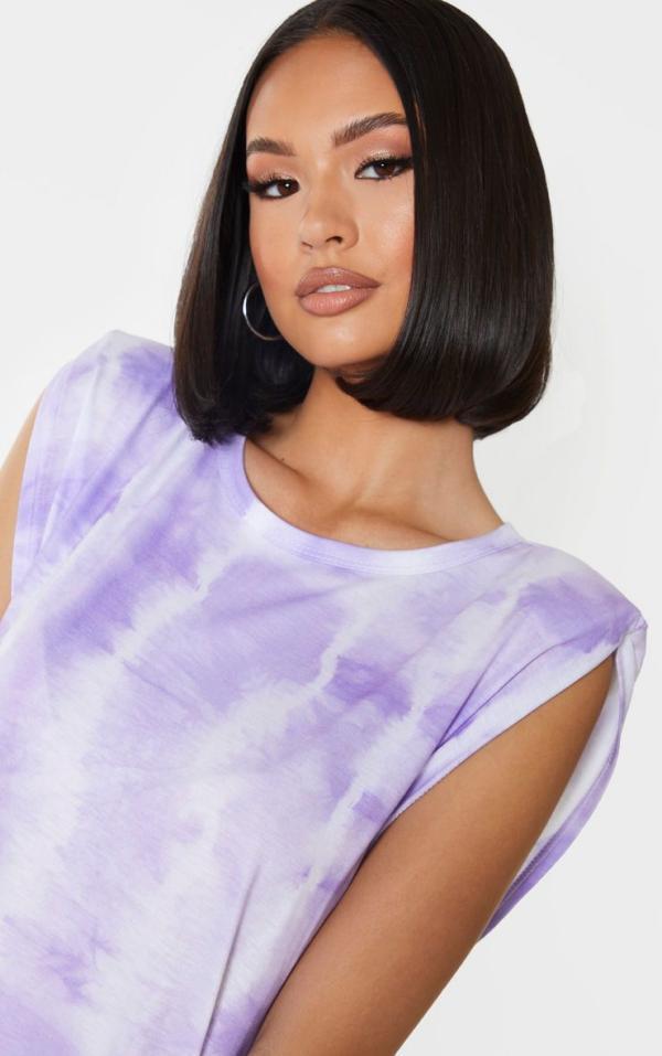 tendance mode femme 2020 t-shirt à épaulettes violet délavé