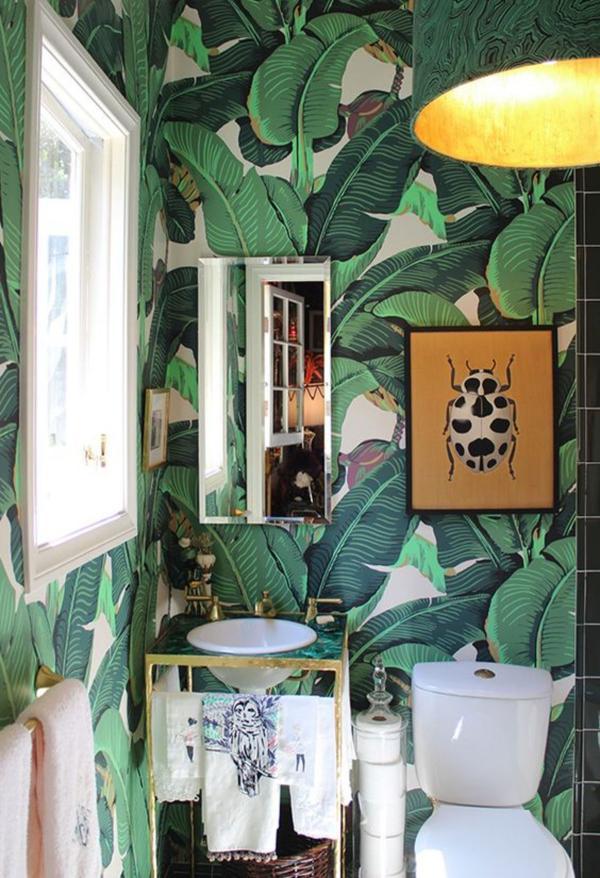 toilette papier peint aux motifs feuille de bananier