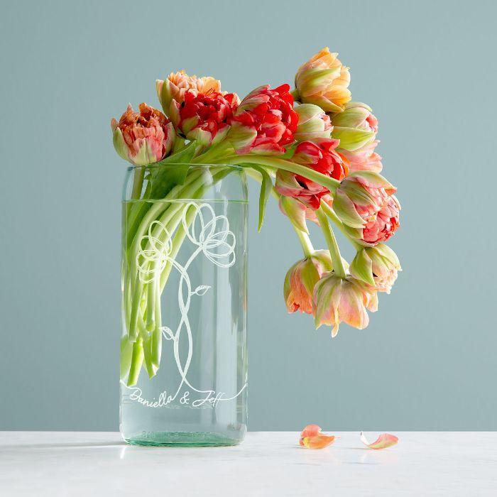 vase en verre transformé idée de gravure chimique sur verre