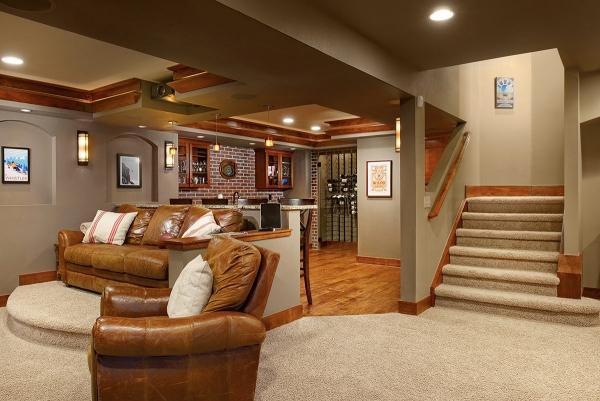 aménagement sous-sol salon et cuisine