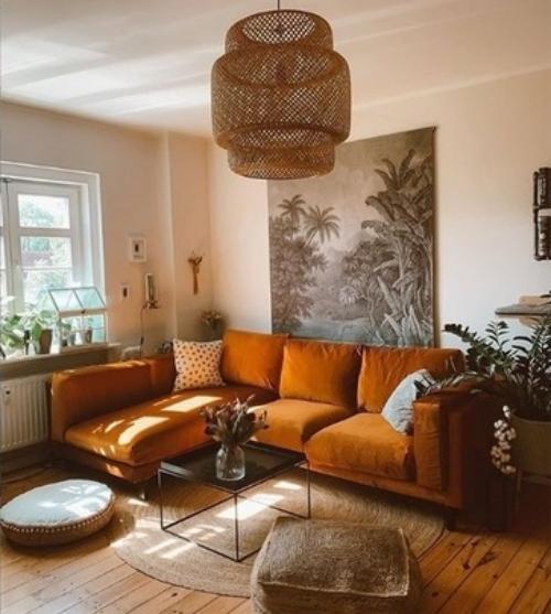 ameublement maison en couleur cannelle