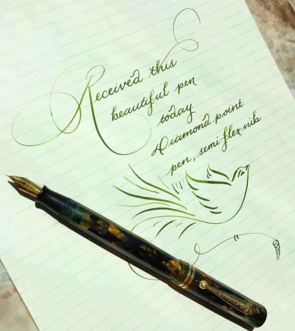 belle écriture à la main épais et mince
