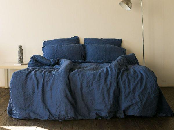 bleu foncé idée de linge de lit en lin lavé