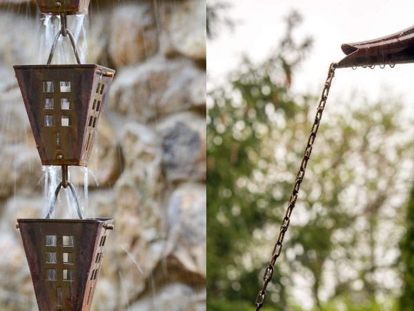 chaîne de pluie évoquant des lanternes