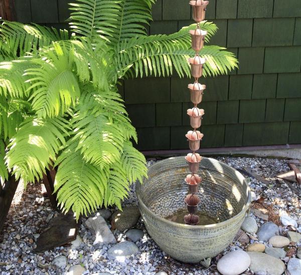 chaîne de pluie récupérer dans un pot