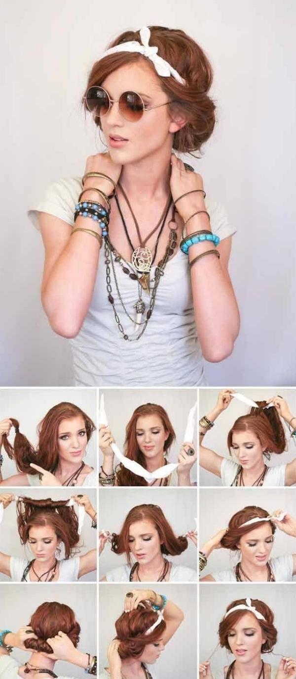 coiffure avec foulard couronne