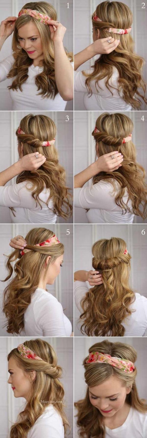 coiffure avec foulard mèches et bandana torsadés