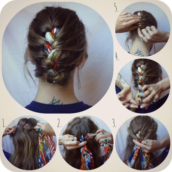 coiffure avec foulard tresse avec foulard incorporé