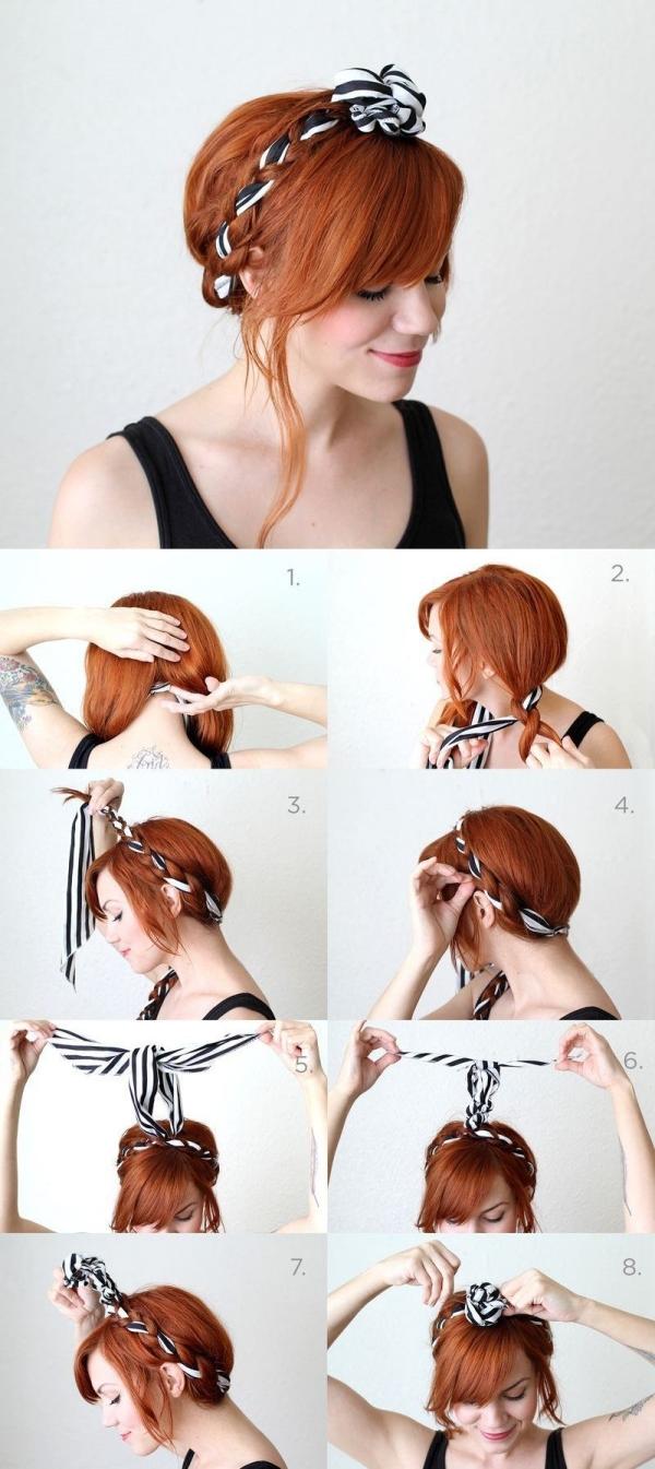 coiffure avec foulard tresse couronne