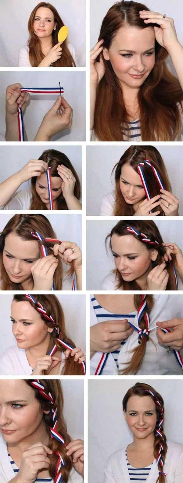 coiffure avec foulard tresse latérale cheveux longs