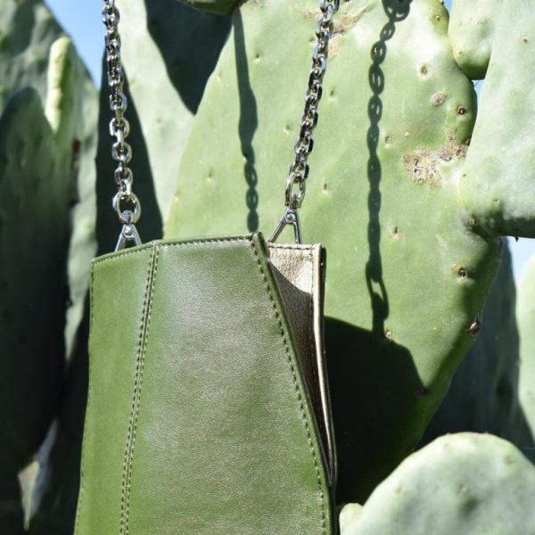 cuir artificiel de cactus un sac vert