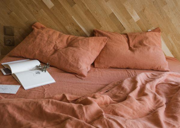 déco chambre linge de lit en lin lavé