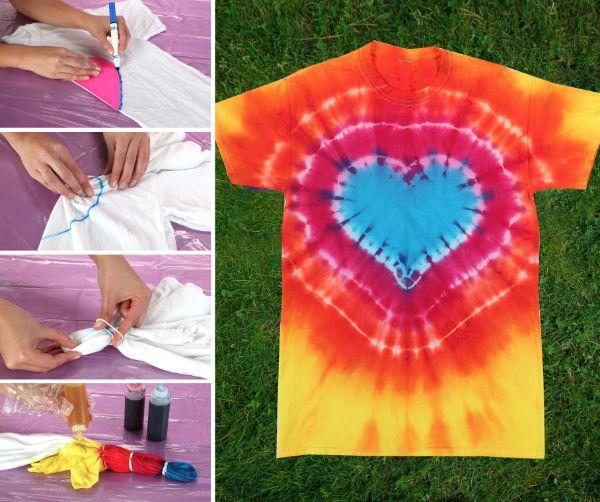 déco coeur tie and dye maison t-shirt