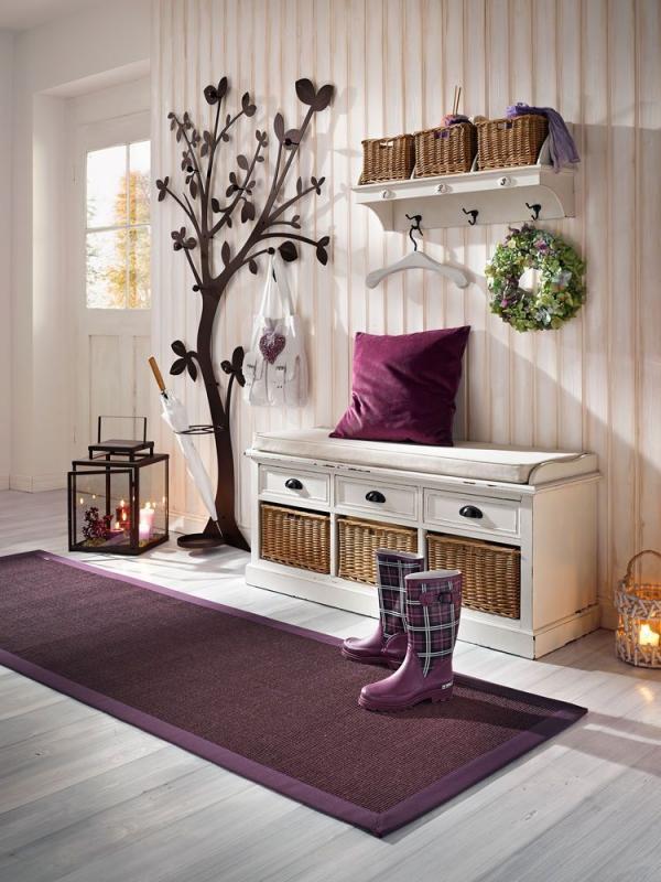 décoration d'entrée de maison couleur lilas sympa
