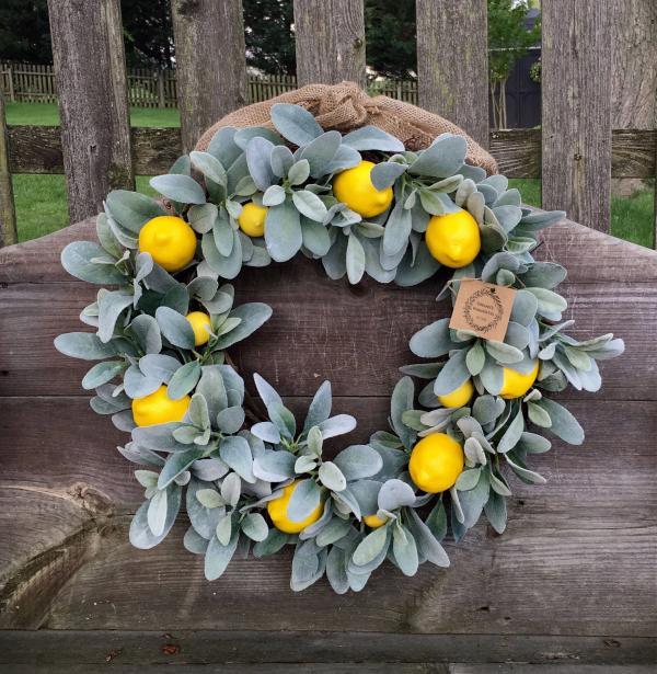 diy couronne de porte branches de citronnier pour l'été