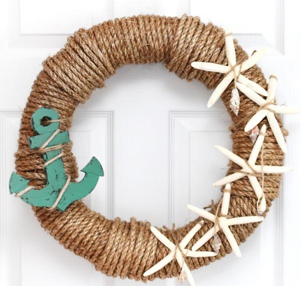 diy couronne de porte pour l'été corde et étoiles de mer