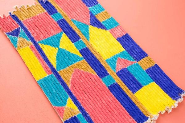 diy tapis en corde décoré de peinture