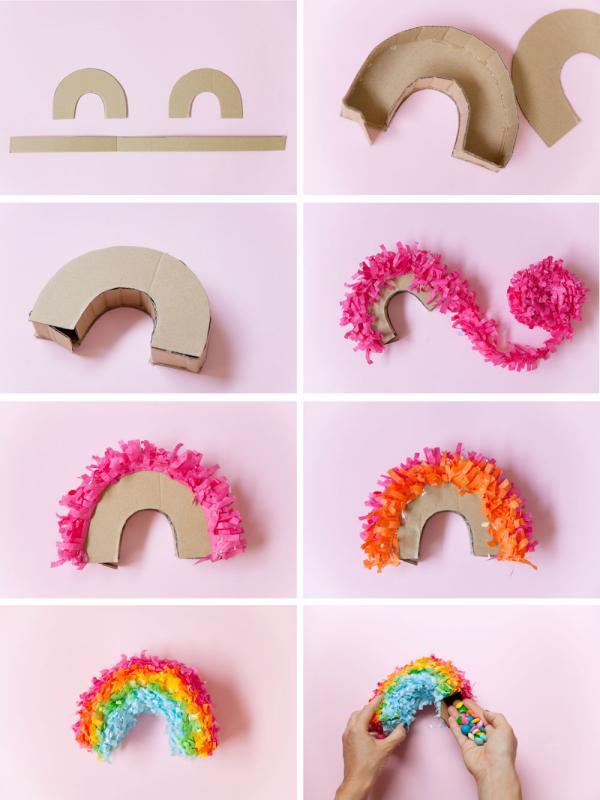 fabriquer une piñata arc-en-ciel