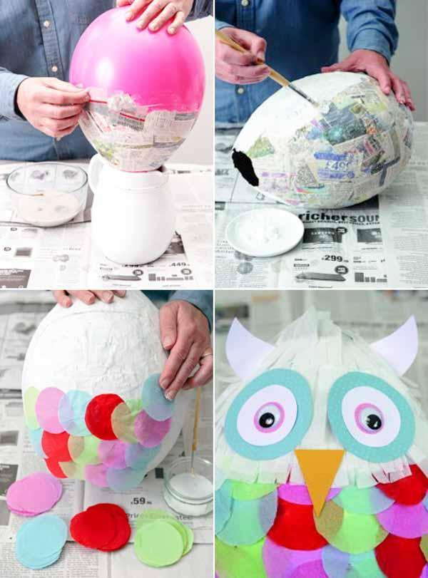 fabriquer une piñata hibou