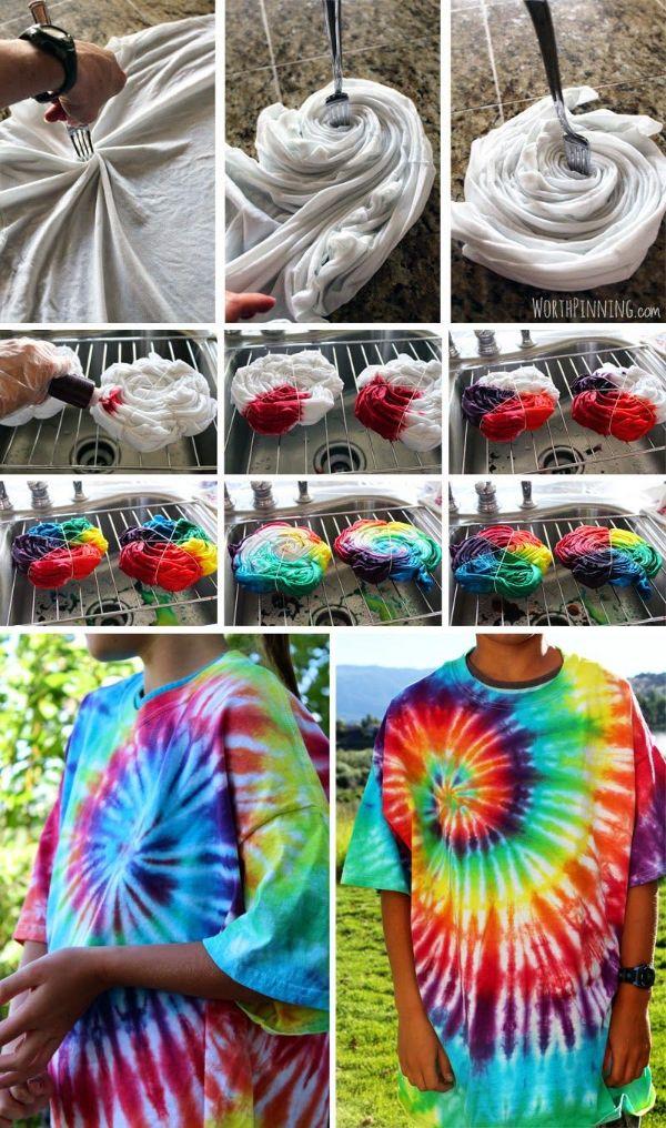 idée diy t-shirt tie and dye maison