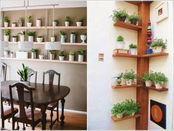 jardiland plante intérieur étagères en lattes dans la cuisine
